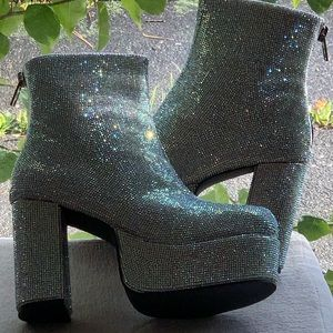 NIB Crystal Encrusted Platform Boots